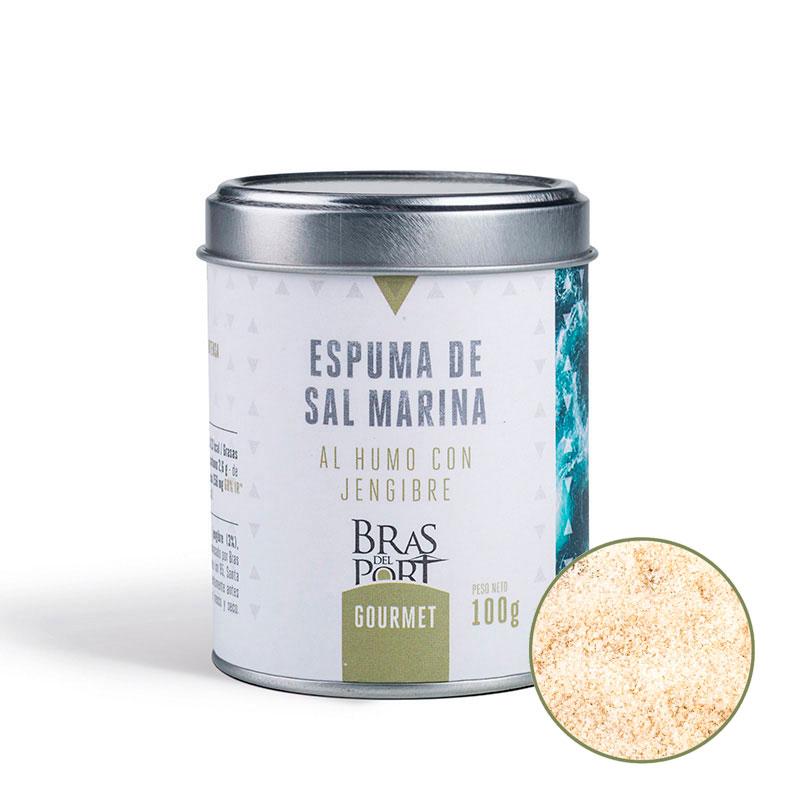 Espuma de sal marina española al humo con jengibre