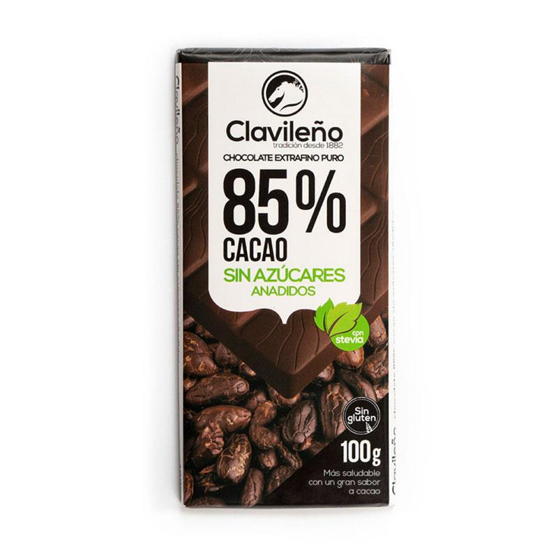 Negro 85% cacao stevia sin azúcares añadidos