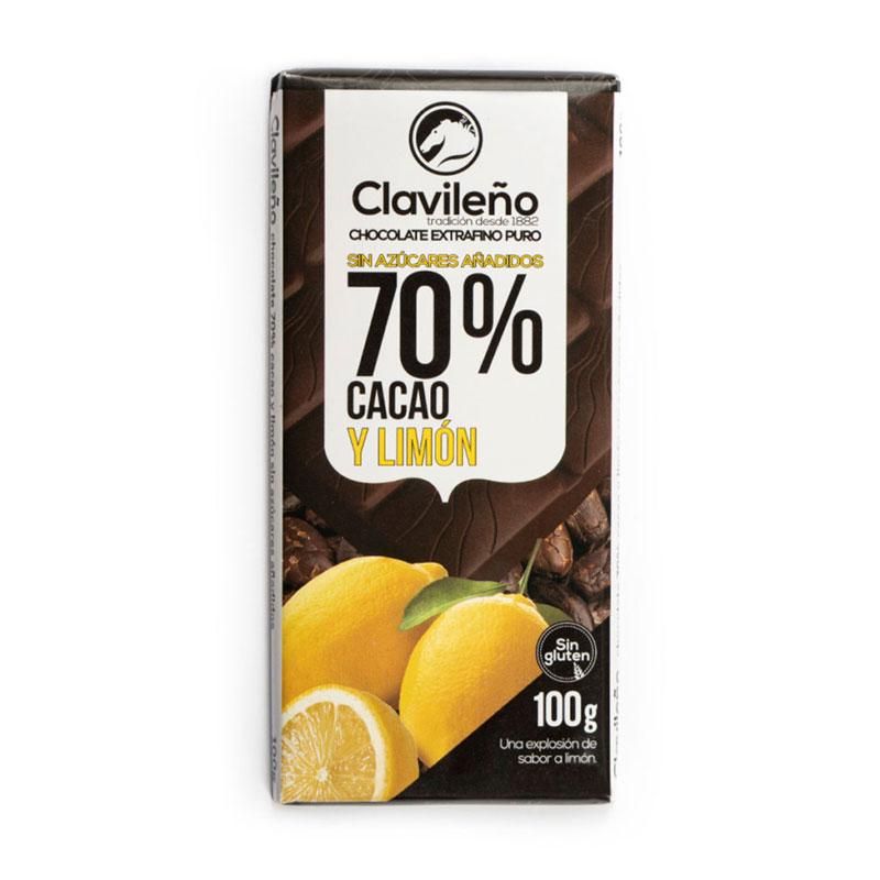 Negro 70% cacao con limón sin azúcares añadidos
