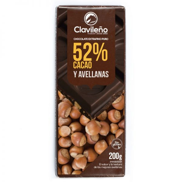 Chocolate Extrafino puro 52% Cacao y avellanas