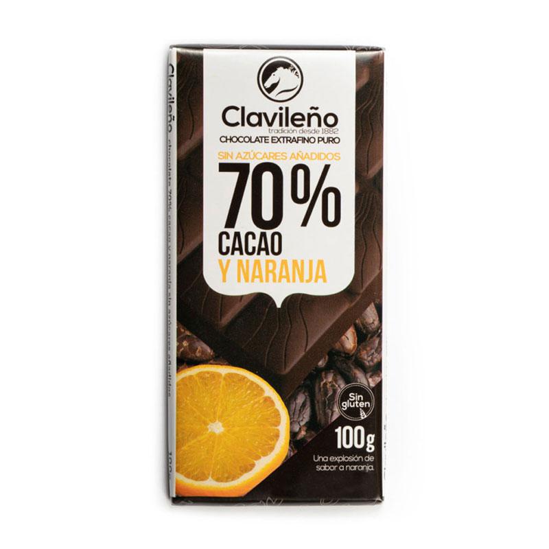Negro 70% cacao con naranja sin azúcares añadidos