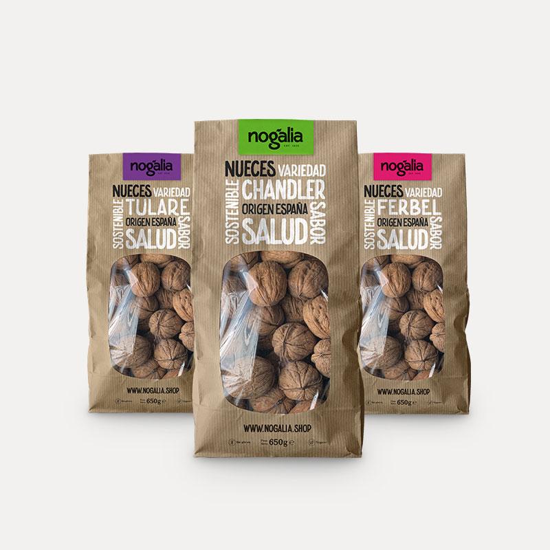 Selección 3 variedades de nueces enteras en bolsa de 650 g. «Nogalia»