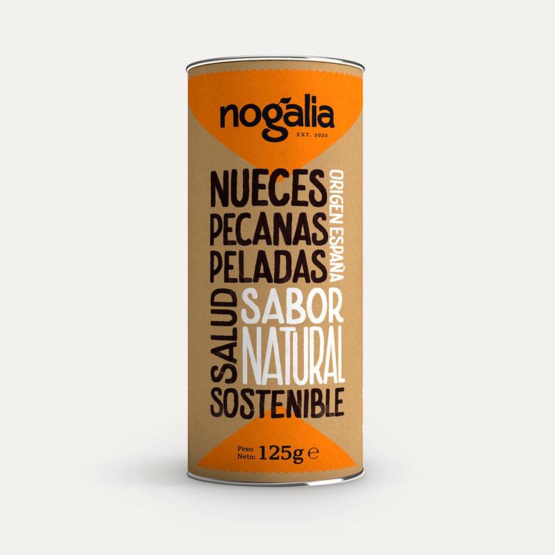 Nuez pecana natural en tubo de 125 g.
